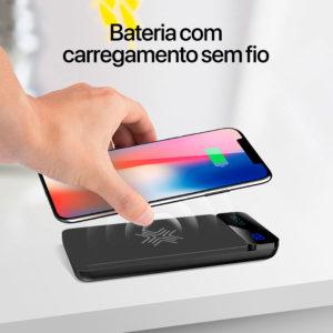 Bateria portátil com carregamento sem fio e display digital